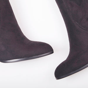 Amber Black Suede Knee High Boots