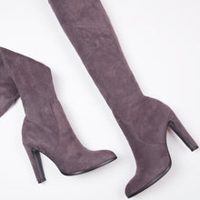 Load image into Gallery viewer, Amber Grey Suede Knee High Boots