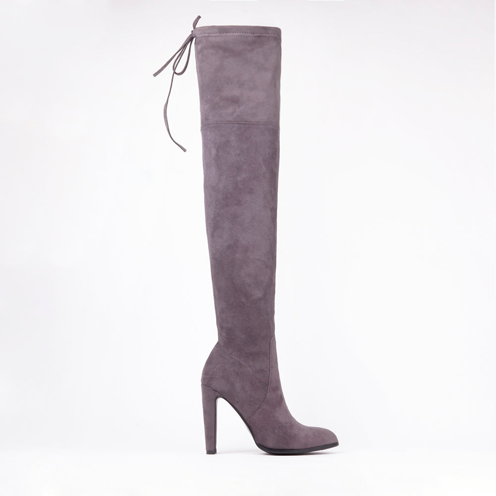 Amber Grey Suede Knee High Boots