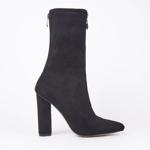 Amelia Black Suede Zip Up Ankle Boots