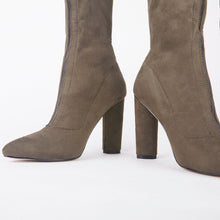 Load image into Gallery viewer, Amelia Khaki Suede Zip Up Ankle Boots