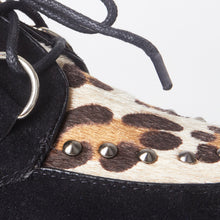Load image into Gallery viewer, Avril Black Leopard Print Stud Creeper Platforms
