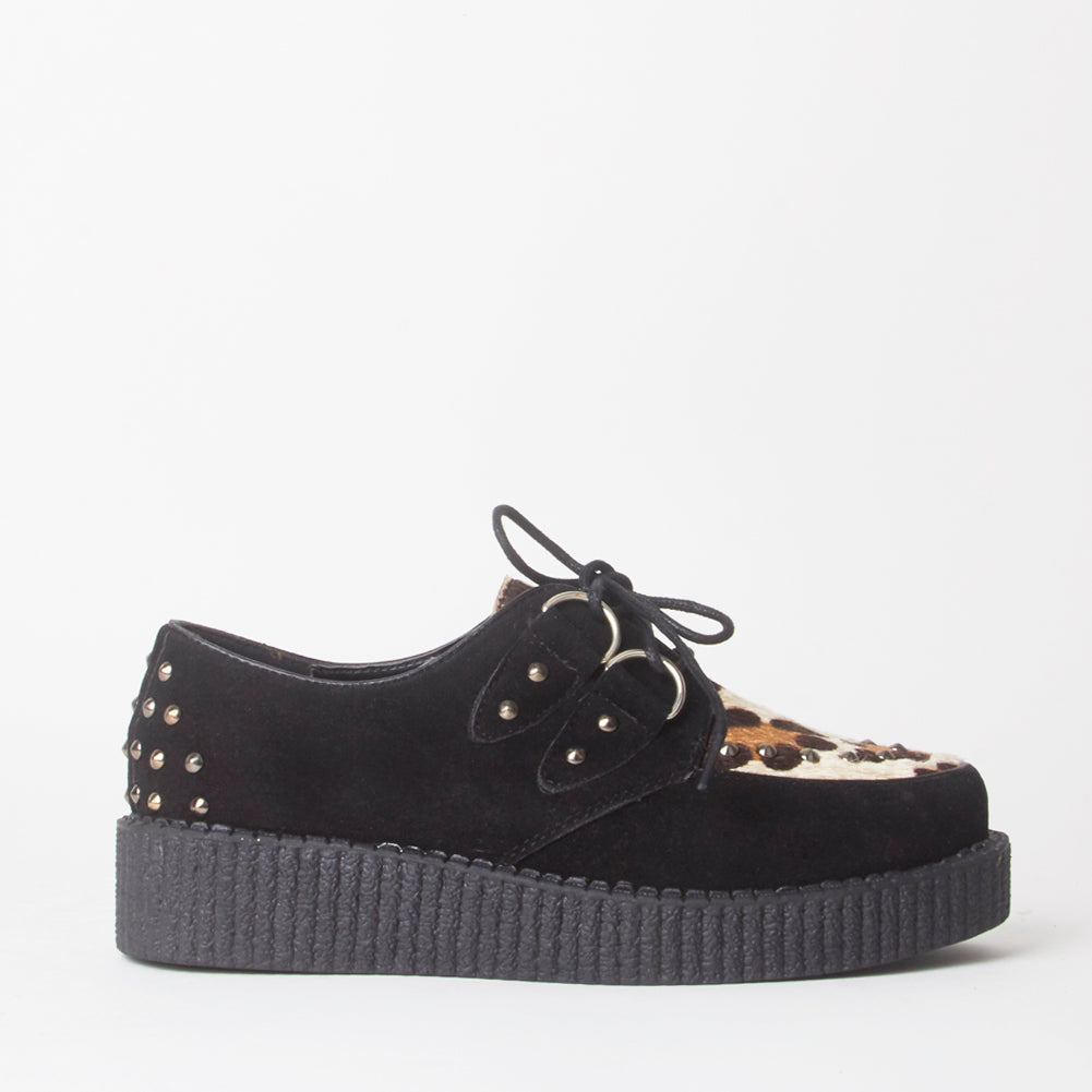 Avril Black Leopard Print Stud Creeper Platforms