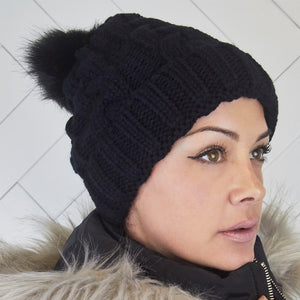 Pom Pom Faux Fur Black Winter Hat Beanie