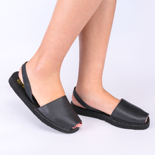 Load image into Gallery viewer, Balearic Summer Flat Sling Back Sandals In Black Leather