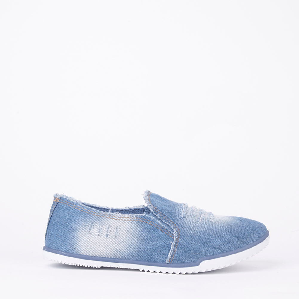 Bethany Distressed Light Denim Slip On Pumps