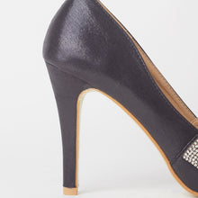 Load image into Gallery viewer, Bianca Black Peep Toe Crystal Heels