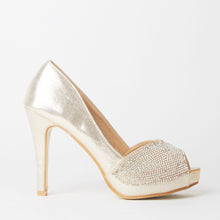 Load image into Gallery viewer, Bianca Gold Peep Toe Crystal Heels
