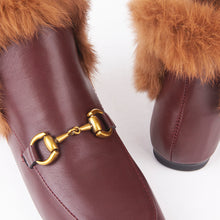 Load image into Gallery viewer, Bonnie Burgundy Faux Fur Buckle Ankle Boots