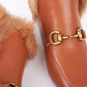 Bonnie Tan Faux Fur Buckle Ankle Boots