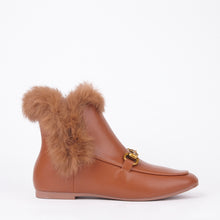 Load image into Gallery viewer, Bonnie Tan Faux Fur Buckle Ankle Boots