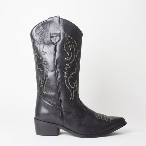 Carrie Black Western Cowboy Knee High Boots