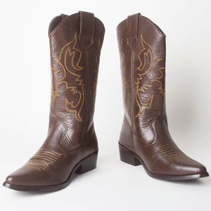 Carrie Brown Western Cowboy Knee High Boots