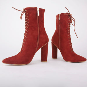 Charlotte Rust Lace Up Ankle Boots