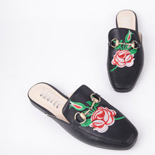 Load image into Gallery viewer, Cheska Embroidered Floral Flat Mule In Black Faux Leather