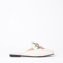 Load image into Gallery viewer, Cheska Embroidered Floral Flat Mule In Nude Faux Leather