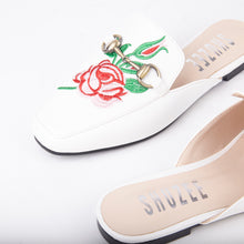 Load image into Gallery viewer, Cheska Embroidered Floral Flat Mule In White Faux Leather