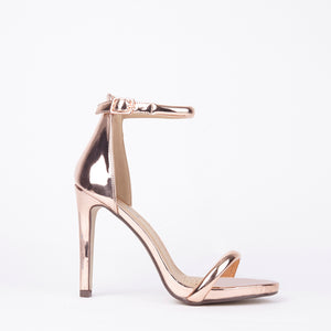 Chloe Rose Gold Barely There Strappy Heels