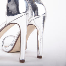 Load image into Gallery viewer, Chloe Metallic Silver Barely There Strappy Heels