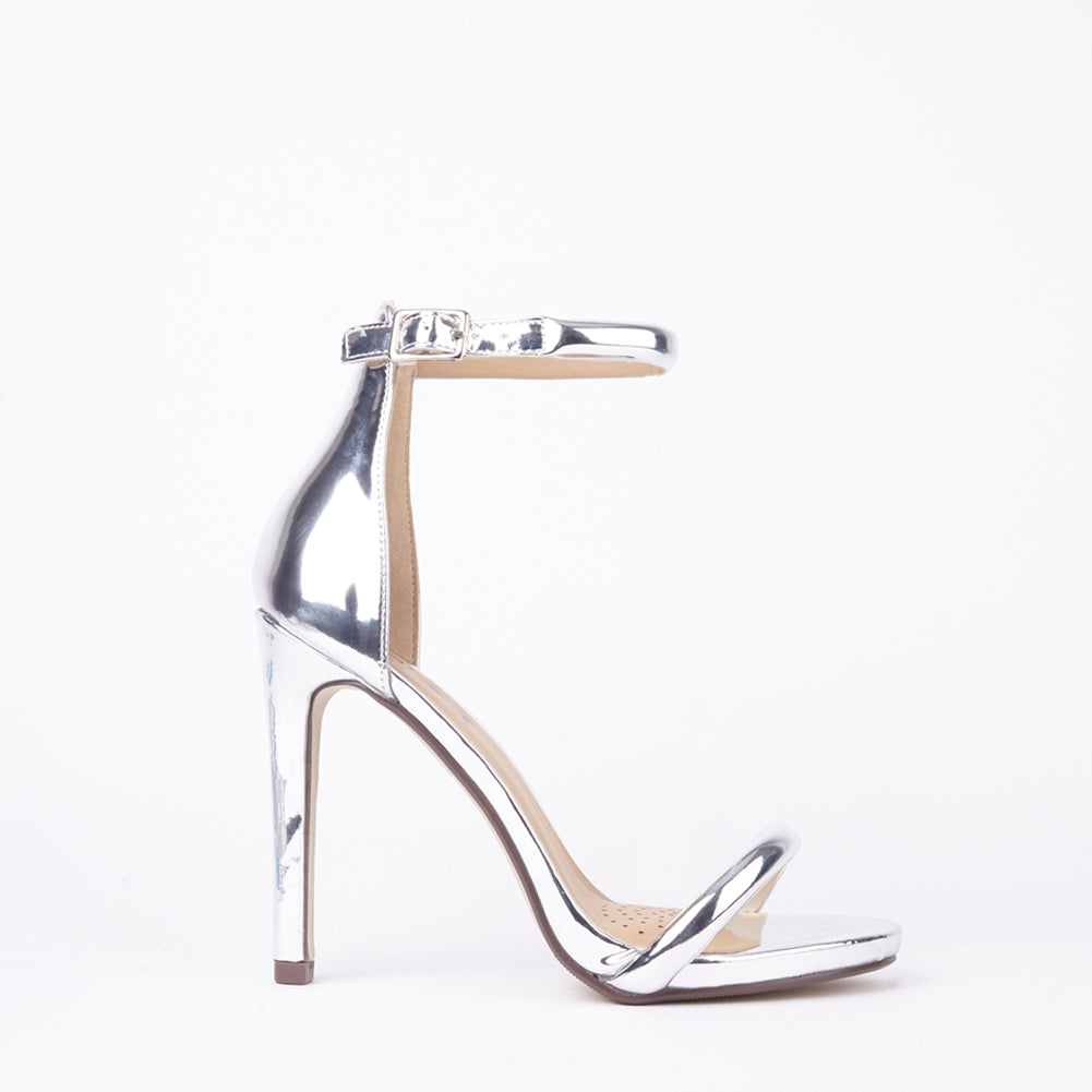 Chloe Metallic Silver Barely There Strappy Heels