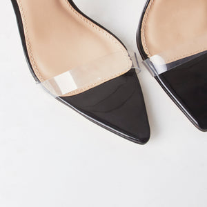 Cora Black Pointed Perspex Heels