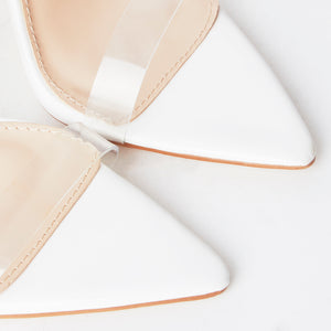Cora White Pointed Perspex Heels
