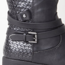 Load image into Gallery viewer, Courtney Black Knee High Boots With Buckle Detail