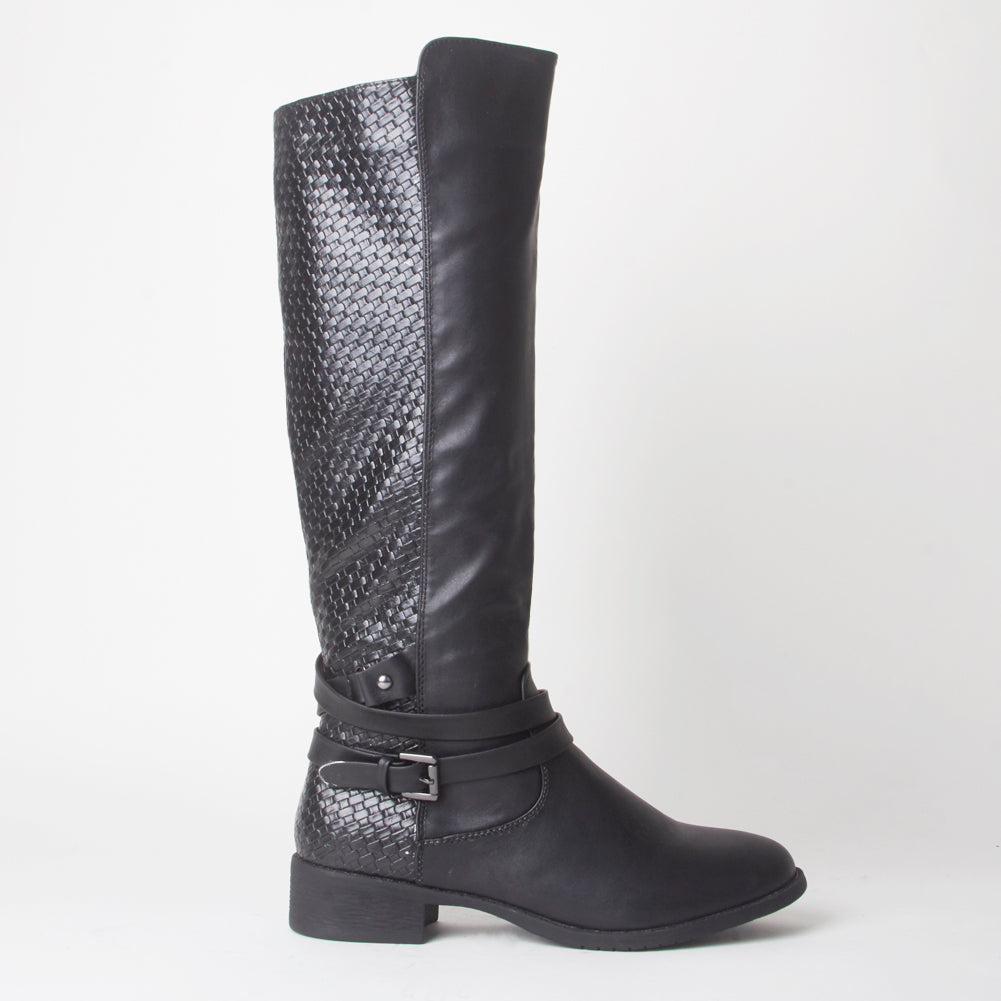 Courtney Black Knee High Boots With Buckle Detail