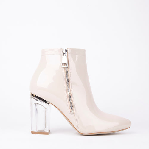Daisy Nude Perspex Ankle Boots