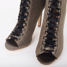 Load image into Gallery viewer, Danielle Khaki Satin Velvet Lace Up Heeled Ankle Boots