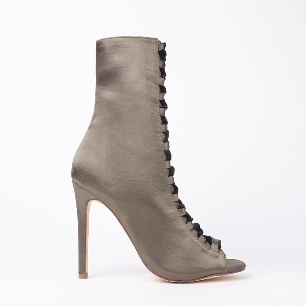 Danielle Khaki Satin Velvet Lace Up Heeled Ankle Boots