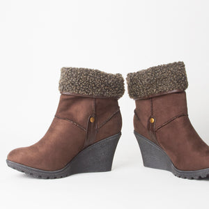 Dominique Brown Fur Wedge Ankle Boots