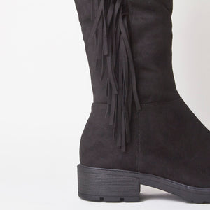 Erin Black Knee High Tassel Faux Suede Boots