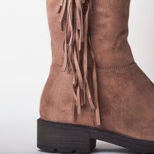 Load image into Gallery viewer, Erin Brown Knee High Tassel Faux Suede Boots