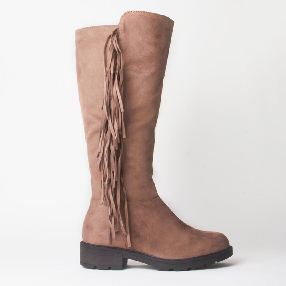 Erin Brown Knee High Tassel Faux Suede Boots