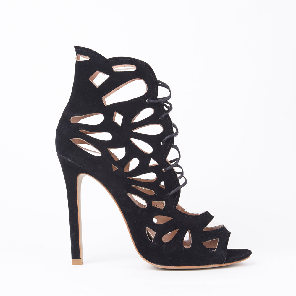 Evie Black Lace Up Heels