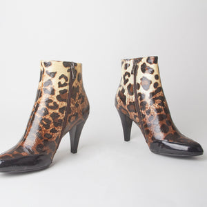Felicity Leopard Print Heeled Ankle Boots