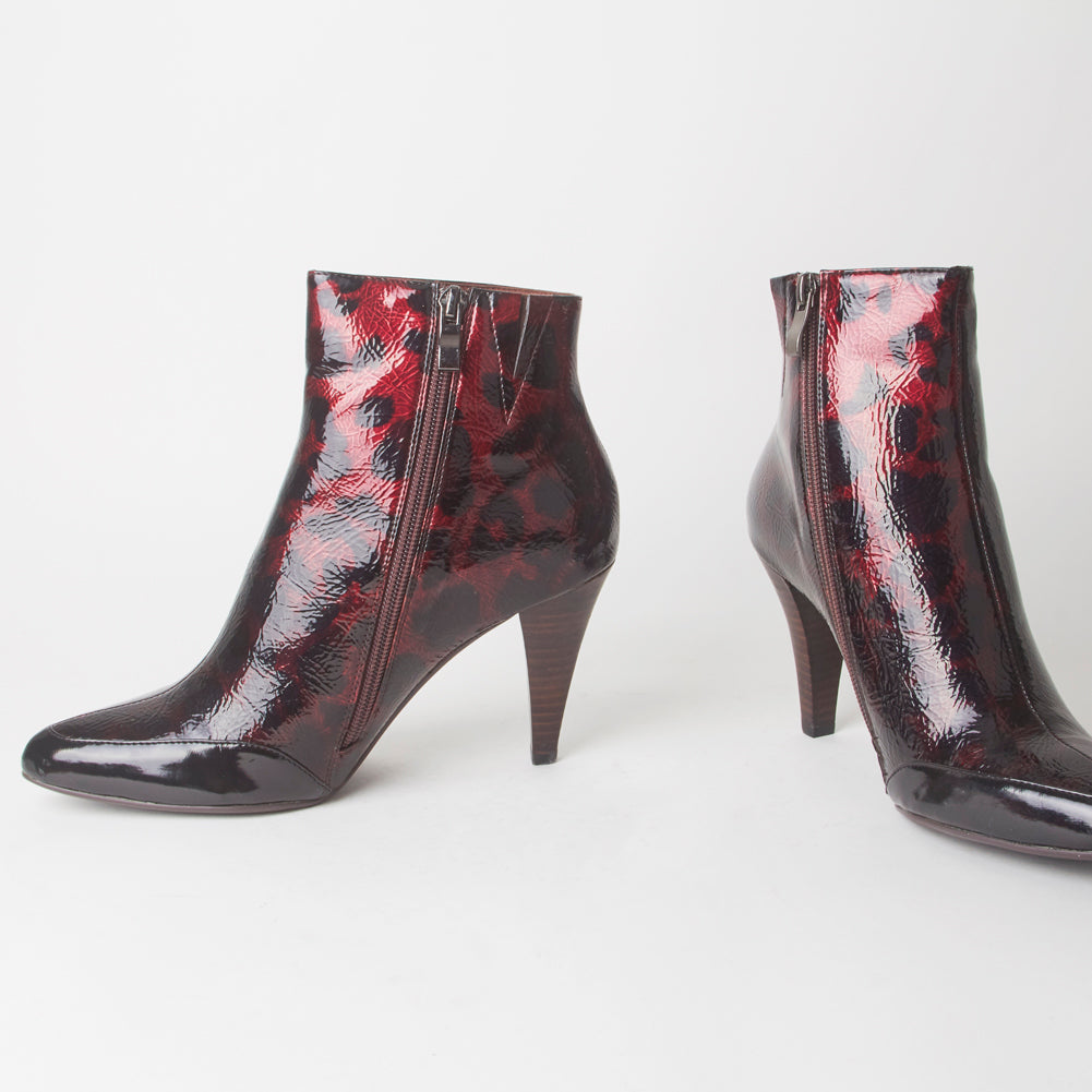 f2940fbb917 Felicity Red Leopard Print Heeled Ankle Boots