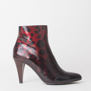 Felicity Red Leopard Print Heeled Ankle Boots