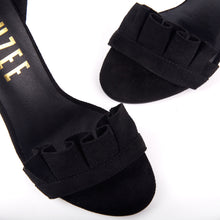 Load image into Gallery viewer, Florence Black Frill Ankle Strap Barely There Heeled Sandals