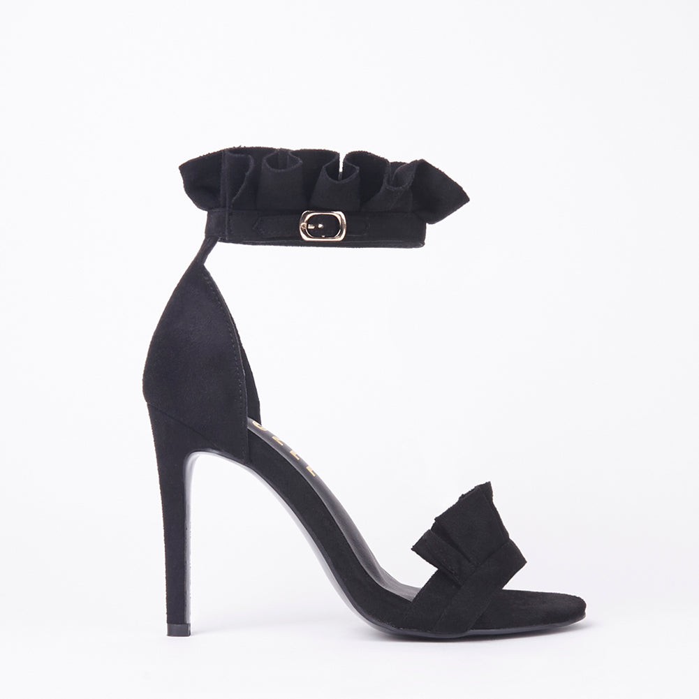 Florence Black Frill Ankle Strap Barely There Heeled Sandals