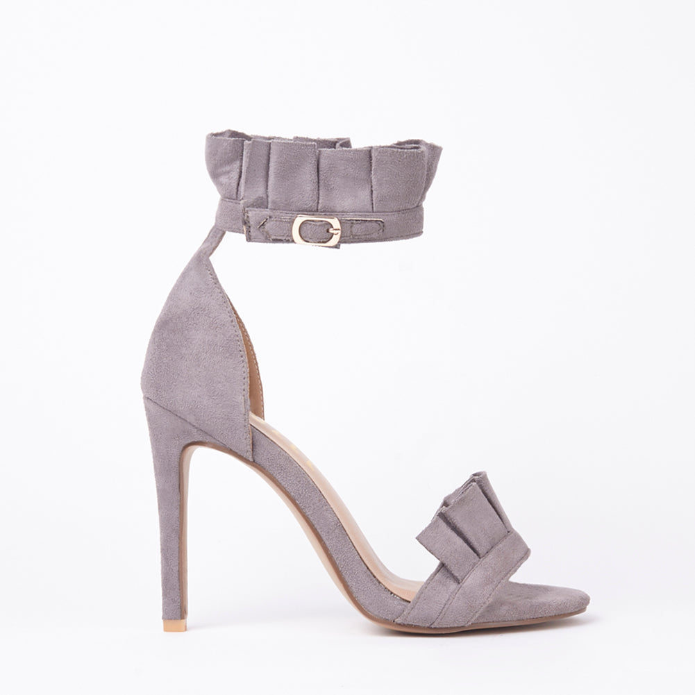 Florence Grey Frill Ankle Strap Barely There Heeled Sandals