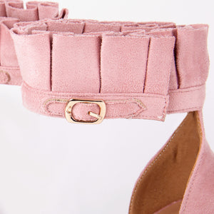 Florence Pink Frill Ankle Strap Barely There Heeled Sandals