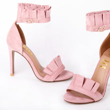 Load image into Gallery viewer, Florence Pink Frill Ankle Strap Barely There Heeled Sandals