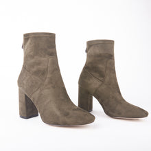 Load image into Gallery viewer, Freya Khaki Suede Ankle Boots