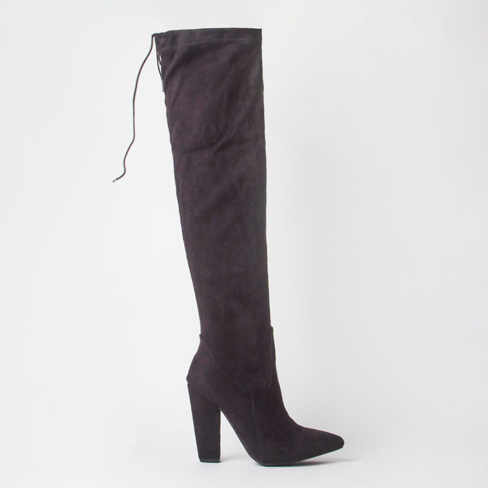 Frida Black Faux Suede Thigh High Boots