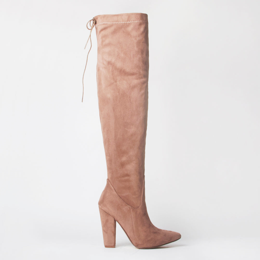 Frida Tan Faux Suede Thigh High Boots