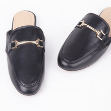 Load image into Gallery viewer, Gabby Black Faux Leather Buckle Mules