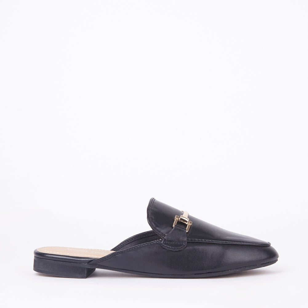 Gabby Black Faux Leather Buckle Mules