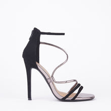 Load image into Gallery viewer, Gigi Black Metallic Barely There Heels